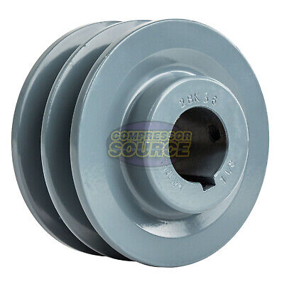 3.75 Cast Iron 1-18 Shaft Pulley Sheave Dual 2 Groove V Style B Belt 5l New