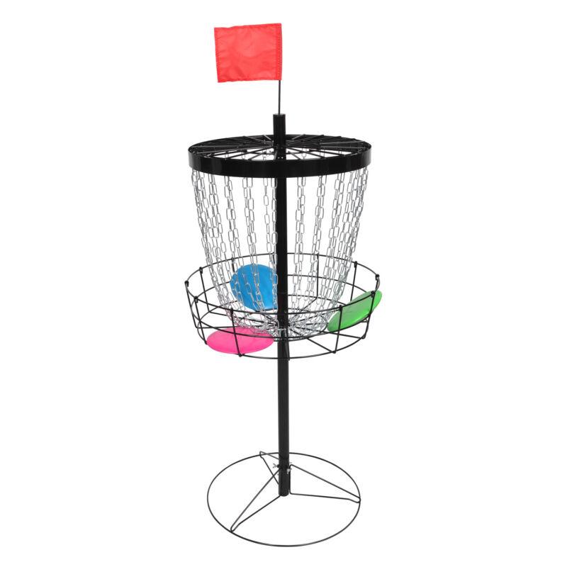 24 Chains Disc Golf Basket Target Catcher Discs Practice Set Carrying Bag Black