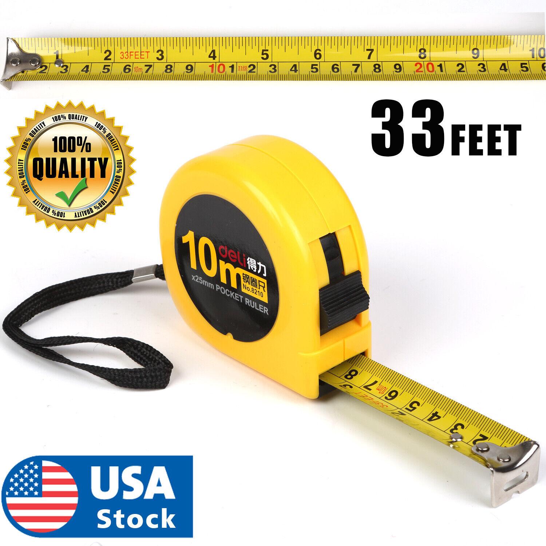 10M 33FEET Retractable Tape Measure Griplock Imperial Metric Measuring Metres Home & Garden