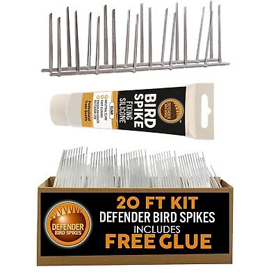 Defender Narrow Plastic Bird and Pigeon Spikes - 20 ft Pack. A Humane Bird & Pig
