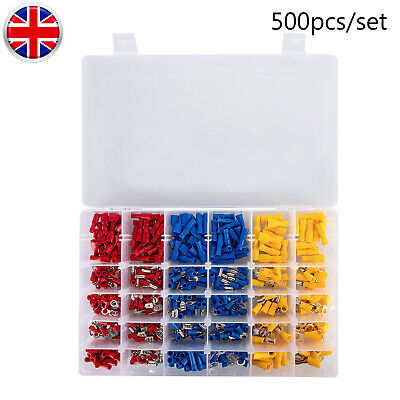 500pcs Electrical Cable Wire Connectors Insulated Crimp Terminals Assorted Kit