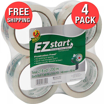Start Smooth And Easy Adhesive Packing Tape 1.88 Inch X 54.6 Yards Clear 4 Count