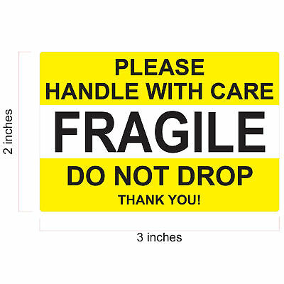 Fragile Sticker 2 X 3 Handle With Care Yellow Thank You