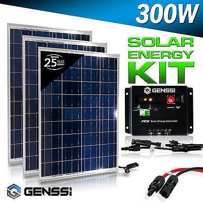 GENSSI 300W Watt Solar Panel Kit 3 pcs 100W 12V RV Boat with Charge Controller