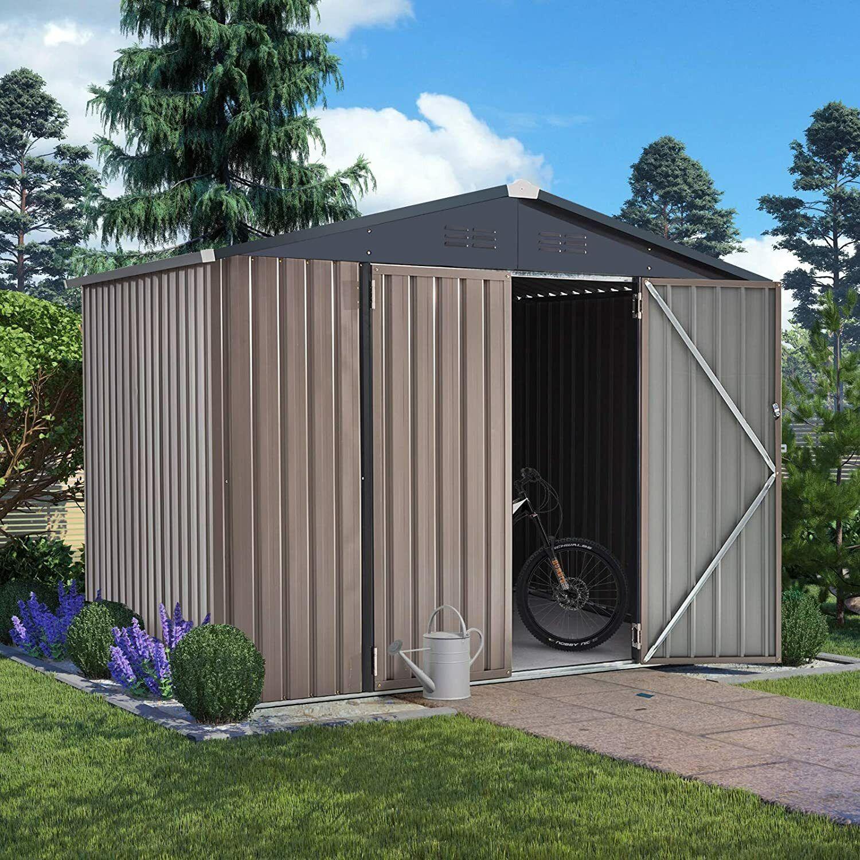 AECOJOY Outdoor Metal Storage Shed for Garden Tools Double Lockable Door 2 Size Garden Structures & Shade