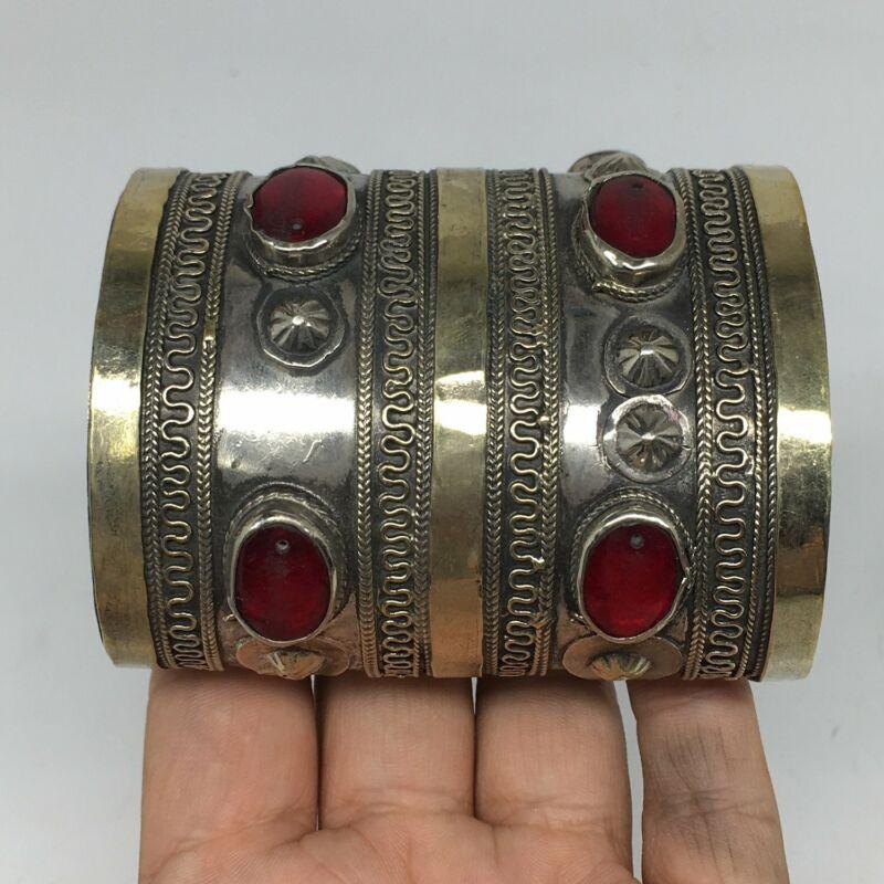 110.7g, Turkmen Bracelet Cuff Old Vintage Tribal Carnelian Inlay,Statement TN501