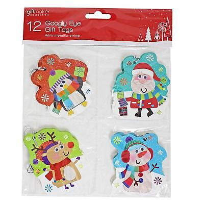CLEARANCE - Googly Eye Children's Gift Tags, Colourful Cute - Pack of 12 - Christmas Wrapping Paper Clearance