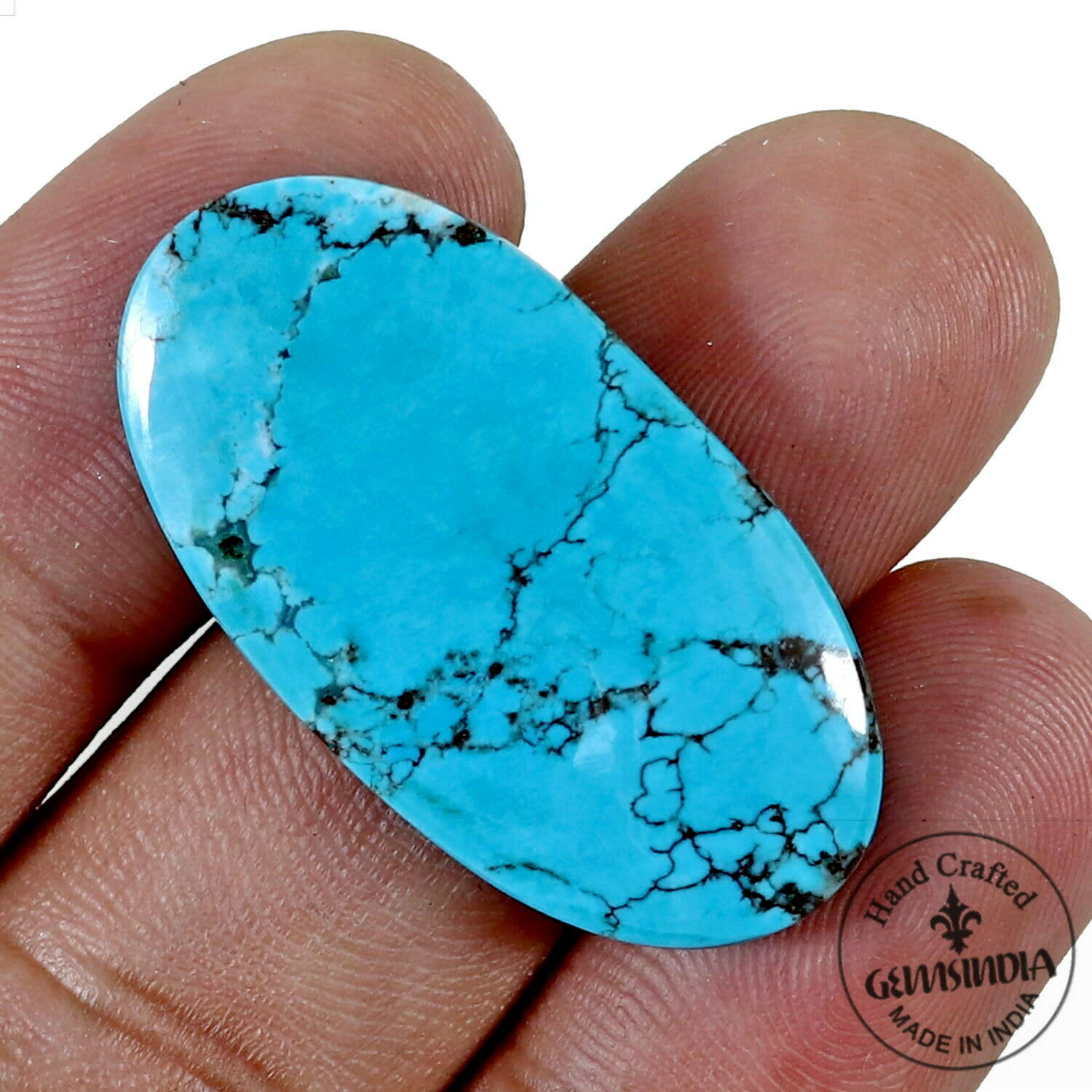 31 Cts Candelaria Turquoise Cabochon Gemstone,Genuine, Spiderweb Natural Beauty!