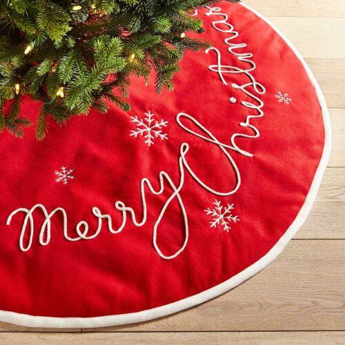 """Pier 1 48"""" Red & White Merry Christmas Tree Skirt White Peppermint"""