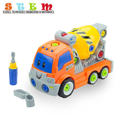 STEM Take Apart Toys Cement Mixer Truck Gift For 3, 4, 5 Year Old Boys & Girls