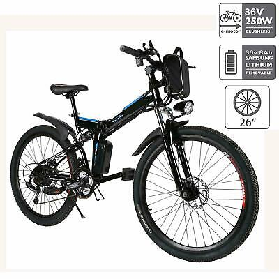 26in Elektrofahrrad Falten Mountainbike Herren EBike E-MTB Klapprad Li-Ion 250W