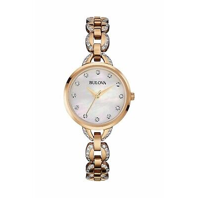 Bulova Women's Quartz Crystal Bracelet Mother of Pearl Dial 21mm Watch 98L207 Bulova Mother Of Pearl Bracelet