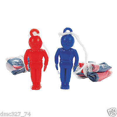 (48) 4th of July PATRIOTIC Party Favors MINI Parachute PARATROOPERS