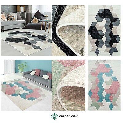 Teppich Modern Designer Wohnzimmer Inspiration Fasson Mosaik Pastell Blau Grau ()