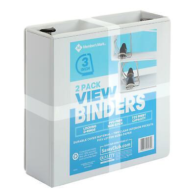 Members Mark 3 D-ring View Binder White 2 Pk.