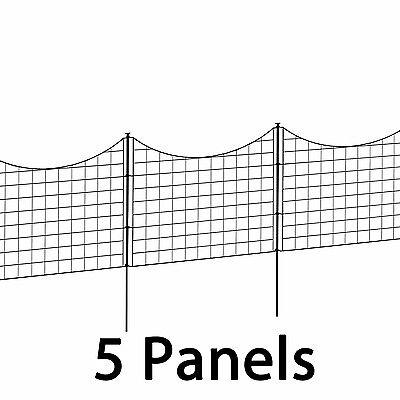 Outdoor Metal Garden Fence Black Pet Guard Lawn Back Yard Fencing Stake 5 Panels