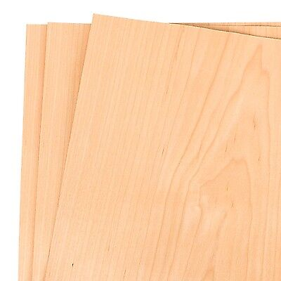 "Maple Wood Veneer Raw/Unbacked 12"" x 12"" (1' x 1') Pack of 3 Sheets"