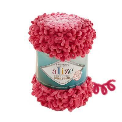 Pink Ombre Batik - Puffy Fine Alize Yarn Finger Knitting Wool 500g...