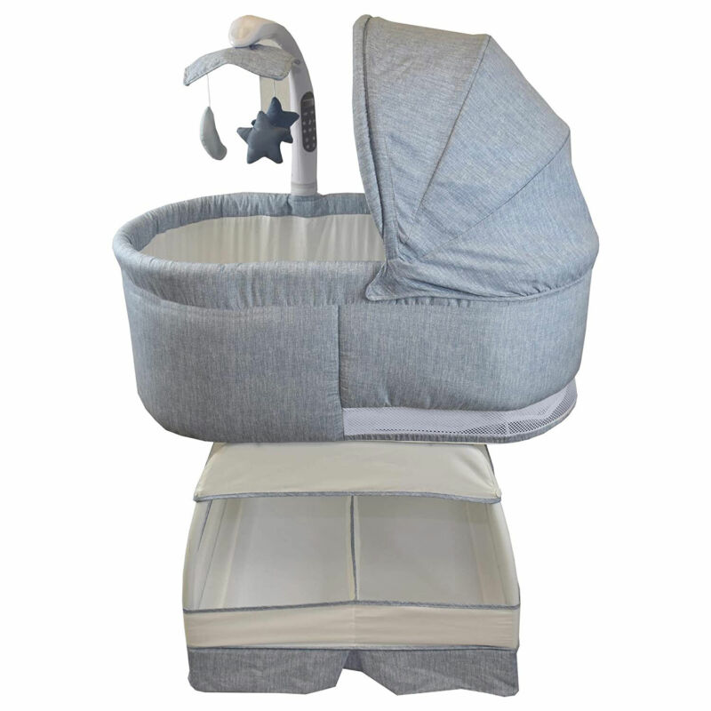 TruBliss Baby Sweetli Deluxe Bassinet Crib Sleeper with Mobile, Chambray Blue