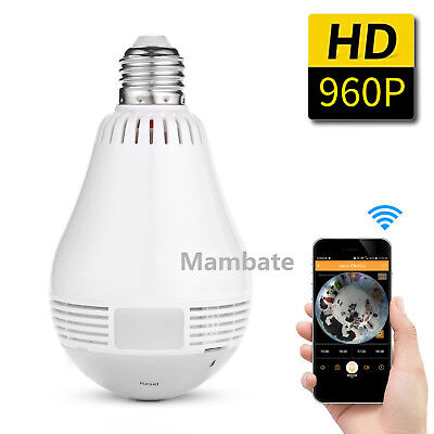 AGPtek 360 degree Panoramic 960P Hidden wifi Camera Light Bulb Security IP CAM