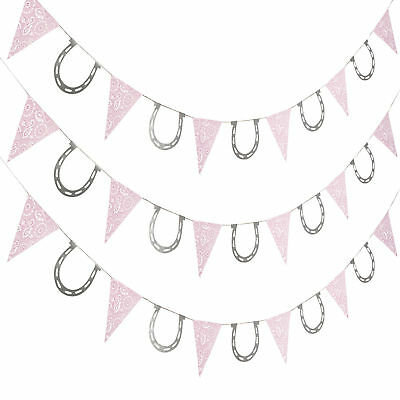 7 FT COWGIRL GARLAND western pink bandana horseshoe BIRTHDAY PARTY DECORATIONS