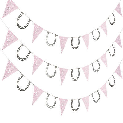 7 FT COWGIRL GARLAND western pink bandana horseshoe BIRTHDAY PARTY DECORATIONS - Western Birthday Decorations