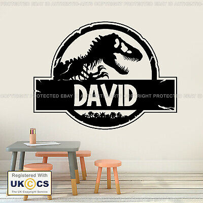 Dinosaur Wall Sticker Jurassic Park Personalised Name Decals Vinyl Art Removable