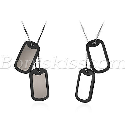 Men's Military Army 2 Dog Tags Plain Pendant Necklace Ball Chain Free Engraving