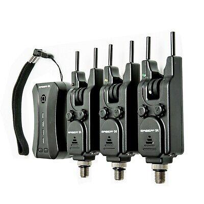 Saber S4 3+1 Fishing Bite Alarm Set Wireless LED Case Carp + Receiver Tackle UK