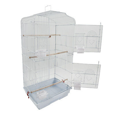 "New 37"" Bird Parrot Cage Canary Parakeet+ Wood Perches+ Food Cups + Swing White"