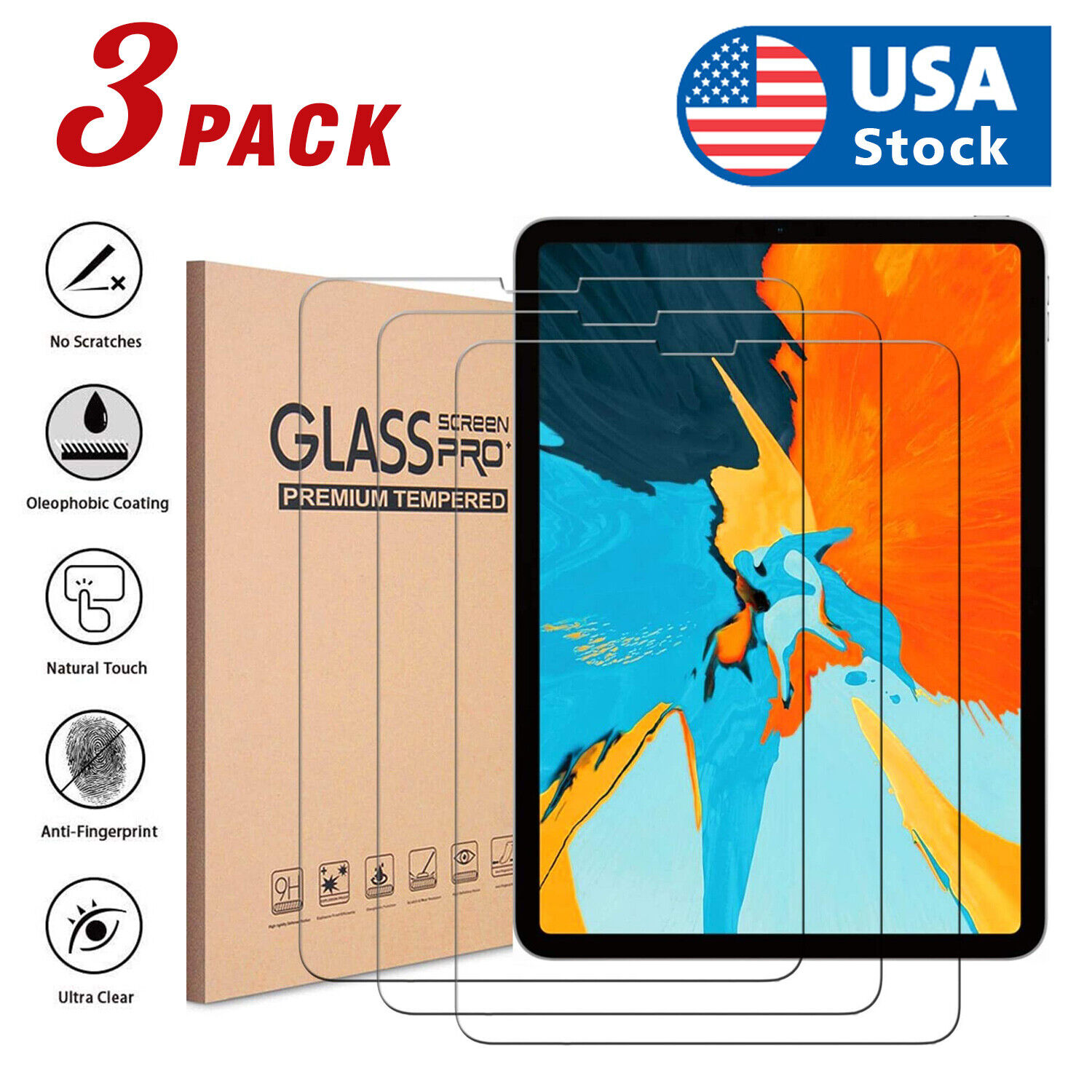 3X Premium Screen Protector for Apple iPad Pro 11-Inch 2018 Tempered Glass Film Computers/Tablets & Networking