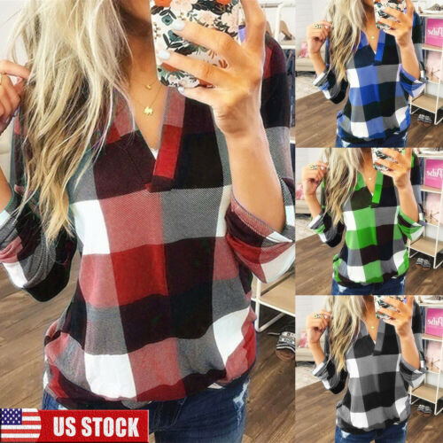 Women V-Neck Plaid Tops T-Shirts Ladies Casual Loose Check B