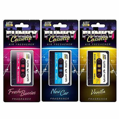3 Car Air Freshener Retro 80's Tape Cassette Novelty Gift Berry Vanilla Freshner
