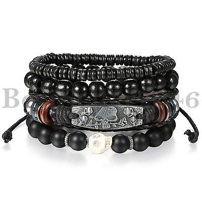 Black Skull Leather Men Women Tribal Beaded Cuff Wristband Bracelet 4pcs Set