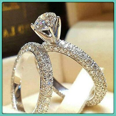 2.50 Ct Round Diamond Engagement Wedding Band Bridal Set Ring 14K White Gold FN Round Bridal Set
