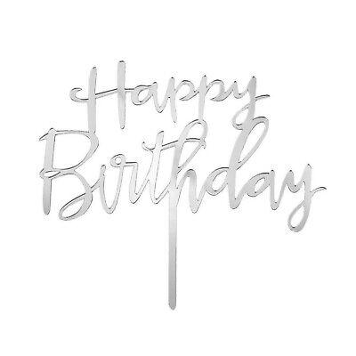 Torten Kuchen Cake Topper Aufsatz Happy Birthday Geburtstag Jubiläum Deko Silber