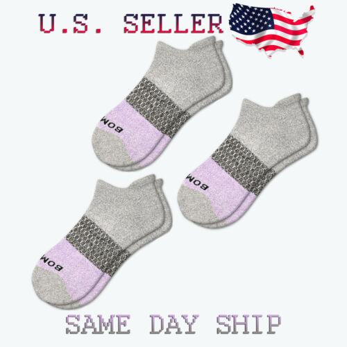 3-Pack Bombas Tri-Block Ankle Socks - Grey Lavender - Women
