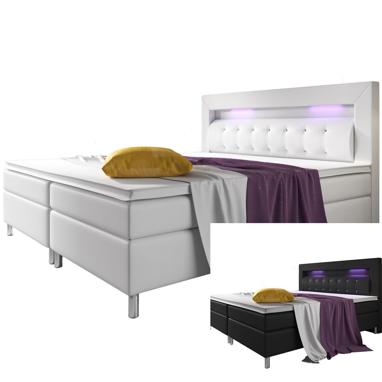 Lit d'Hotel Boxspring DESIGN en Cuir+matelas Double 140 à 180x200 bed +LED L@@K!