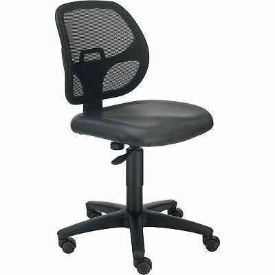 Armless Mesh Back Office Chair Vinyl Black