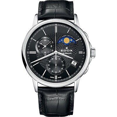 NEW Edox Les Bemonts Men's Moon-Phase-Calendar Watch - 01651-3-NIN