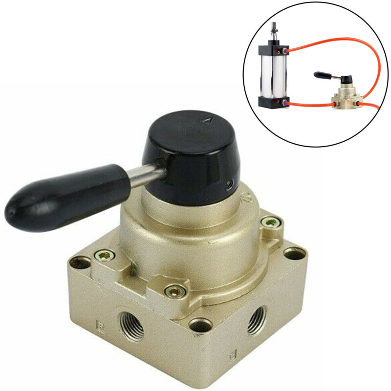 3 Position 4 Way Rotary Lever Hand Valve PT1/4 Pneumatic Air Flow Control Valve