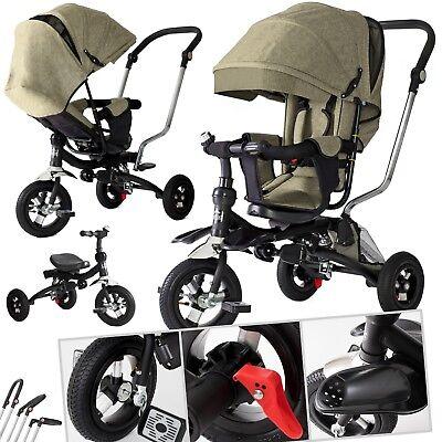 KESSER® Dreirad Kinderdreirad Kinder Lenkstange Dach Fahrrad Kinderwagen Beige