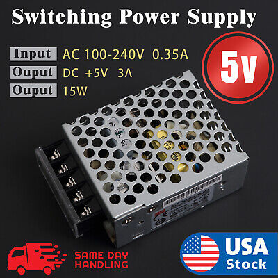 Mean Well Rs-15-5 Enclosed Switching 5 Volt 3 Amp Acdc Power Supply 5v 3a 15w