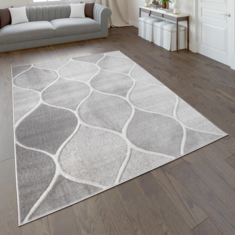 Teppich, Kurzflor-Teppich Für Wohnzimmer Mit Orient-Design, Einfarbig In Grau