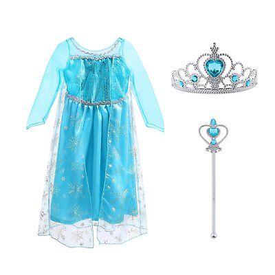 Vicloon Costume di Principessa ElsaVestito con Elsa Corona Bacchetta Accessor...