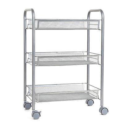 Küchenregal Rollwagen Küchenwagen Servierwagen Küchenschrank mit Rollen Silber