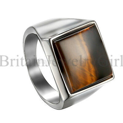 Polished Stainless Steel Square Tiger Eye Stone Wedding Ring for Men Size 7-11 - Eye Rings