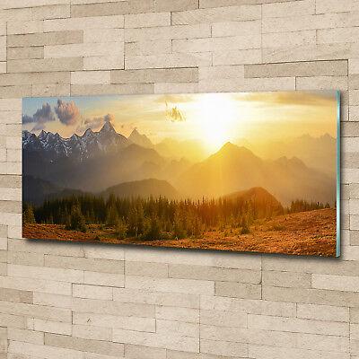 Glas-Bild Wandbilder Druck auf Glas 125x50 Deko Landschaften Sonne Berge