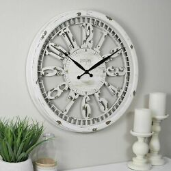 20Clock Wall Antique Distressed White Shabby Chic Rustic Farmhouse Large Round