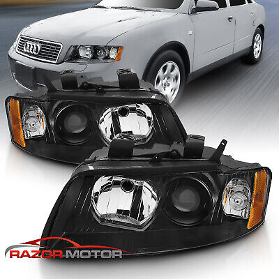 2002 2003 2004 2005 Audi A4/S4 GEN2 Factory Style Black Headlights Pair